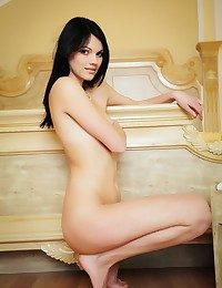 Nichole naughtily undresses off her lace lingerie.