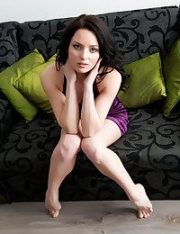 vana wears her velvety purple underwear for her debut series, amplifying her smooth, honest exterior with pink, swell nipples, shaved pussy, and sumptuous legs.