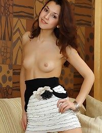 Nubile sweetie with trendy allure and refined poses.