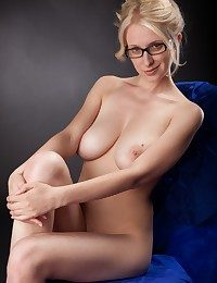 Big-chested blond teacher posing bare wearing unsurpassed her glasses