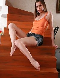 Consumptive jaw-dropping dark haired teenage posing naked dominant to before the stairway