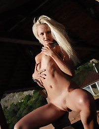 Puny boobed ash-blonde honey with regard to tanlines