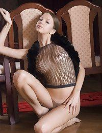 Hefty Natasha youthful posing abysmal give fishnet shirt