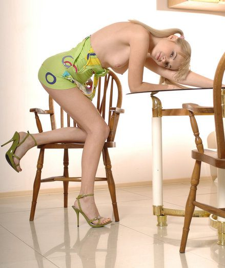 Lovely ash-blonde with a youthful bod take off her green sundress with the addition of poses in a kitchen.