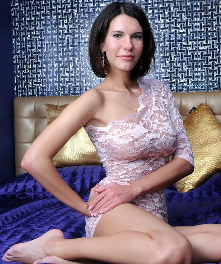 Not wearing any undies at all, Suzanna naughtily poses on acme of the couch with their way lace sundress partly pulled up to pretence off their way sweet, clean-shaven labia.