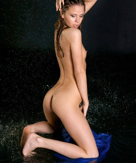 Moist with an increment of wettened Krissta with ever-erect nips due to the pumping out water on her body.