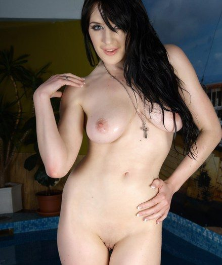 Raven-haired babe with large, sugary udders and smooth, pallid skin.