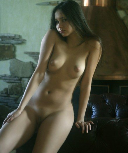 Long-haired dark haired with refined poses and nubile body.