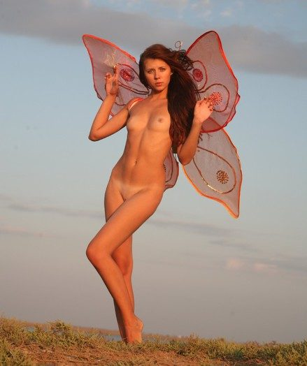 Super-steamy incredible nymph posing bare with butterfly wings
