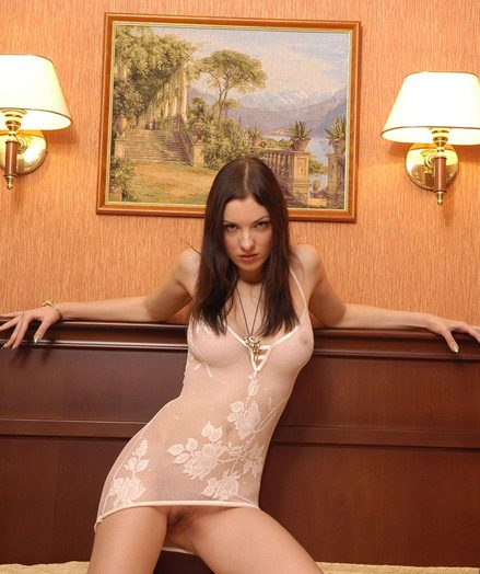Super-sexy Polina with ideally shaped jugs posing in snappish underthings
